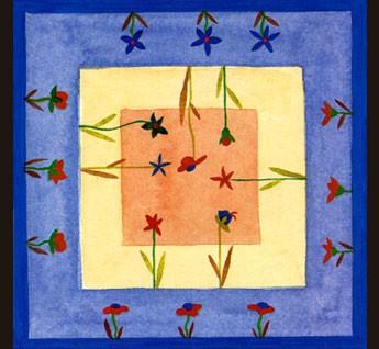Le dessin est tracé à la guta noire, permet de s'entraîner à l'application de la peinture.